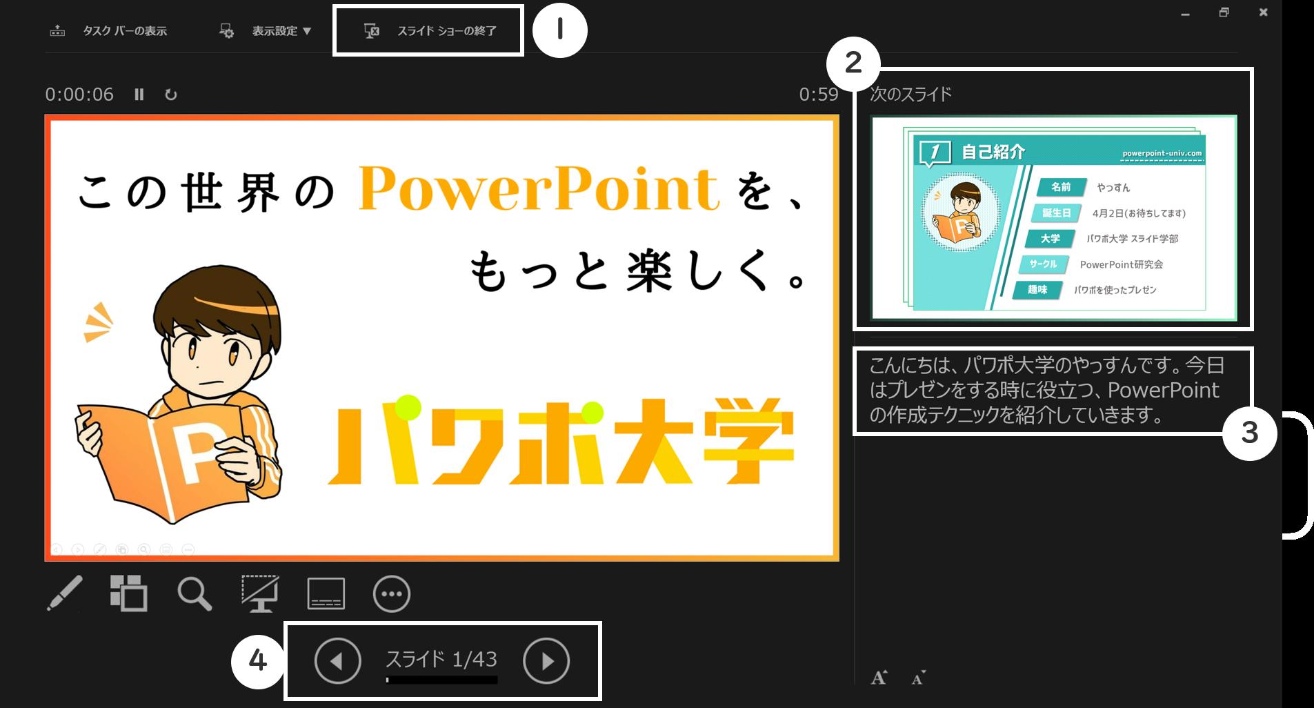 発表者ツールの画面