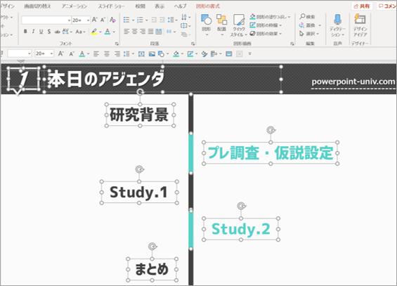 Ctrl+Aでスライド内の全てのオブジェクトを選択する