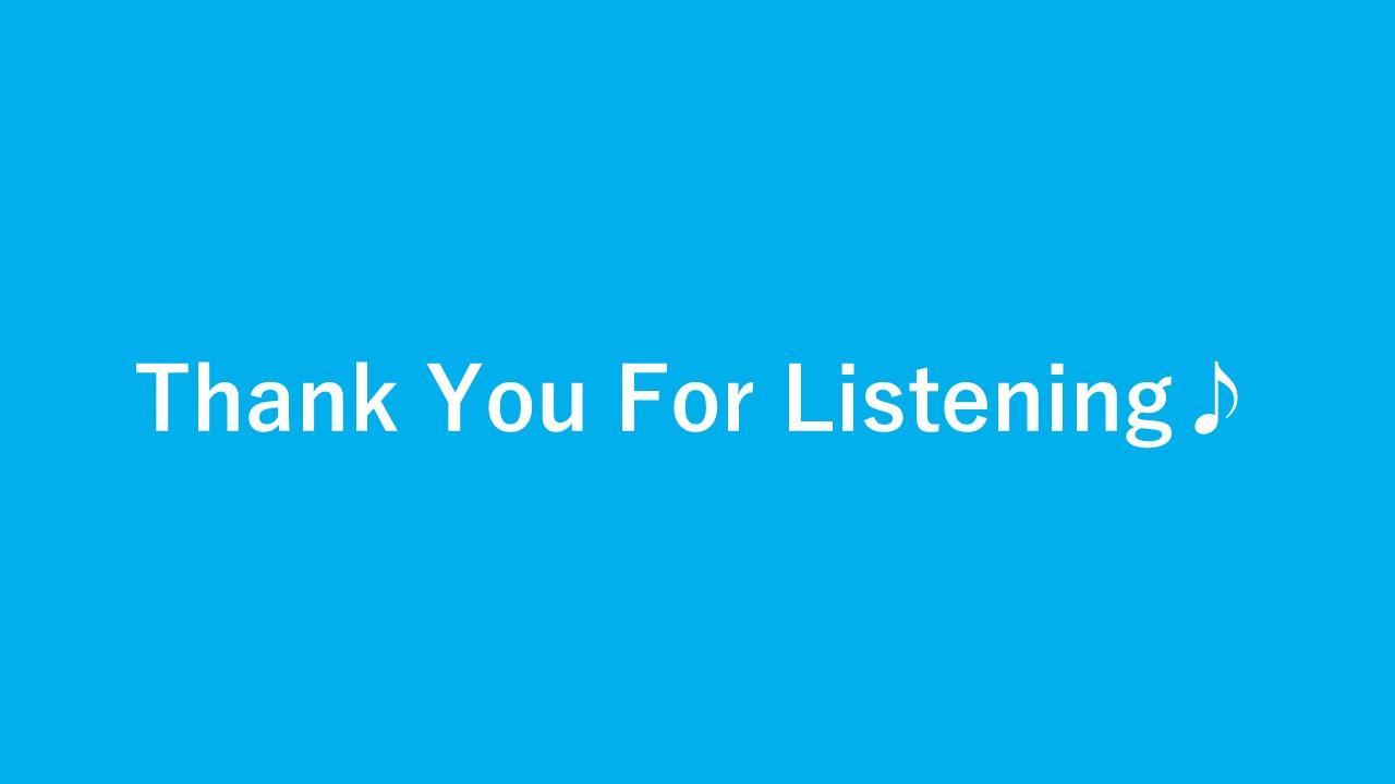 英語でご清聴ありがとうございましたというスライド