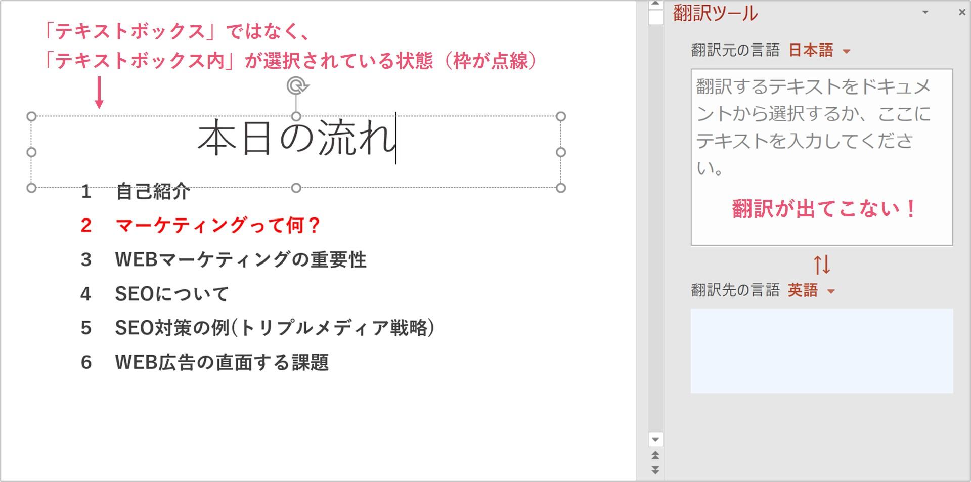 テキストボックスを選択できていないと翻訳ができない